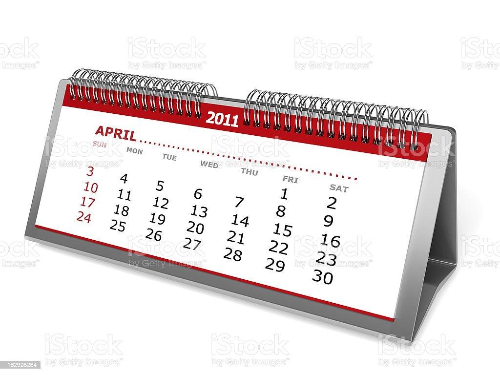 Desktop calendar isolated on white. April 2011 royalty-free stock photo