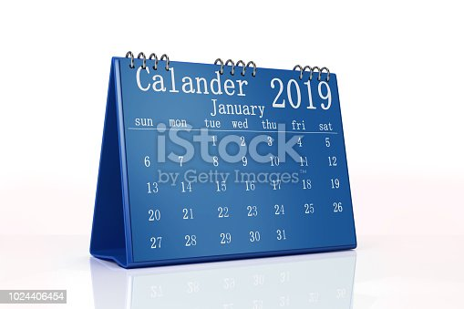 istock 2019 Desktop Calendar Isolated On White Background 1024406454
