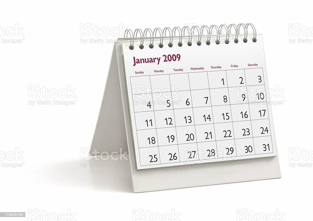Desktop Calendar: January 2009 royalty-free stock photo