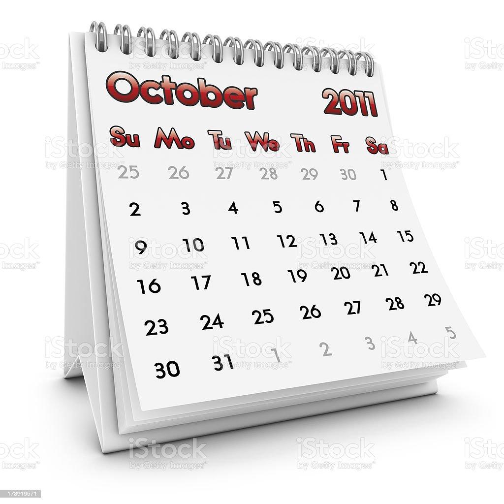 desktop calendar october 2011 royalty-free stock photo