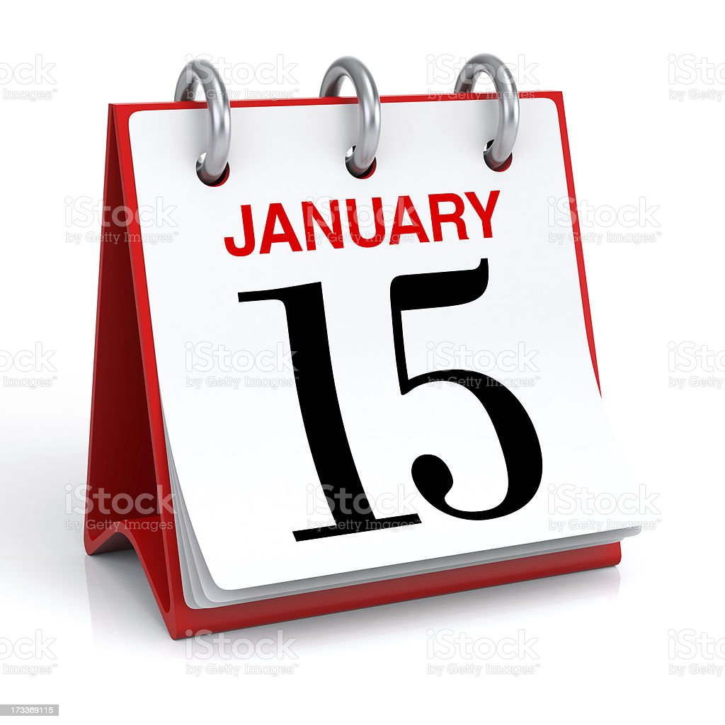 Desktop calendar opened to January fifteenth royalty-free stock photo