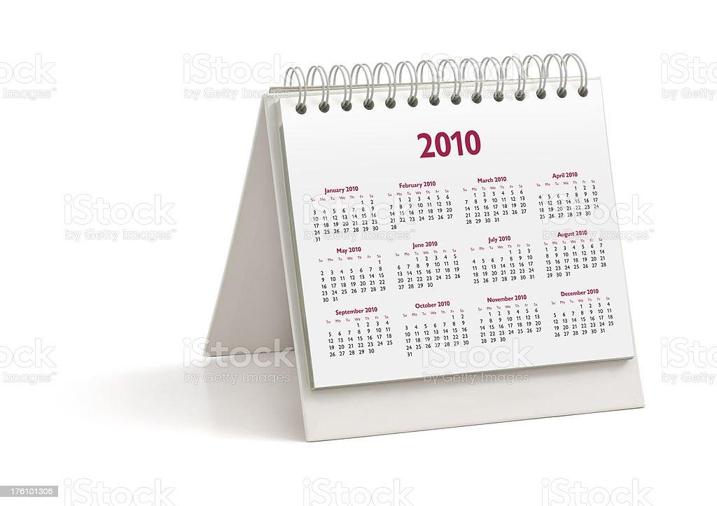 Desktop Calendar: Year 2010 royalty-free stock photo