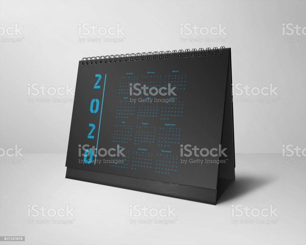 Desktop Calendars Design 2020 All-Months Black & Blue stock photo