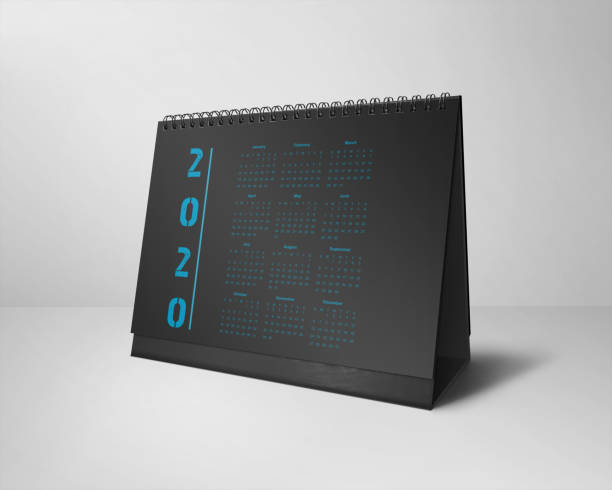 Desktop Calendars Design 2020 All-Months Black & Blue stock photo