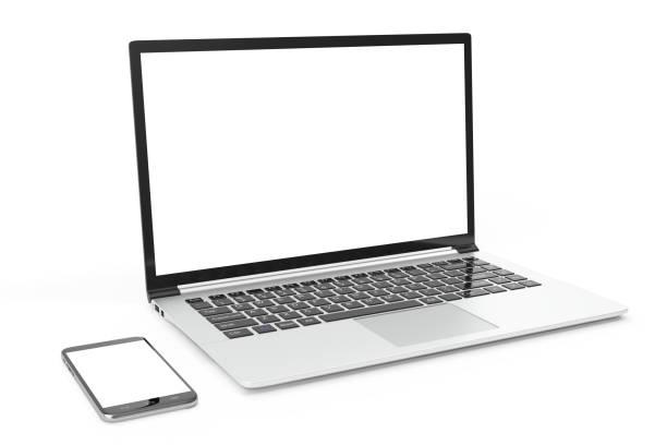 デスクトップ コンピューターはブランクを模擬。光沢のあるラップトップ コンピューターのモックアップ。現代のコンピューターのモックアップ。完全に詳細なスマート フォン近くコンピューター空白、3 d モックアップをレンダリング - ワイヤレス技術 ストックフォトと画像