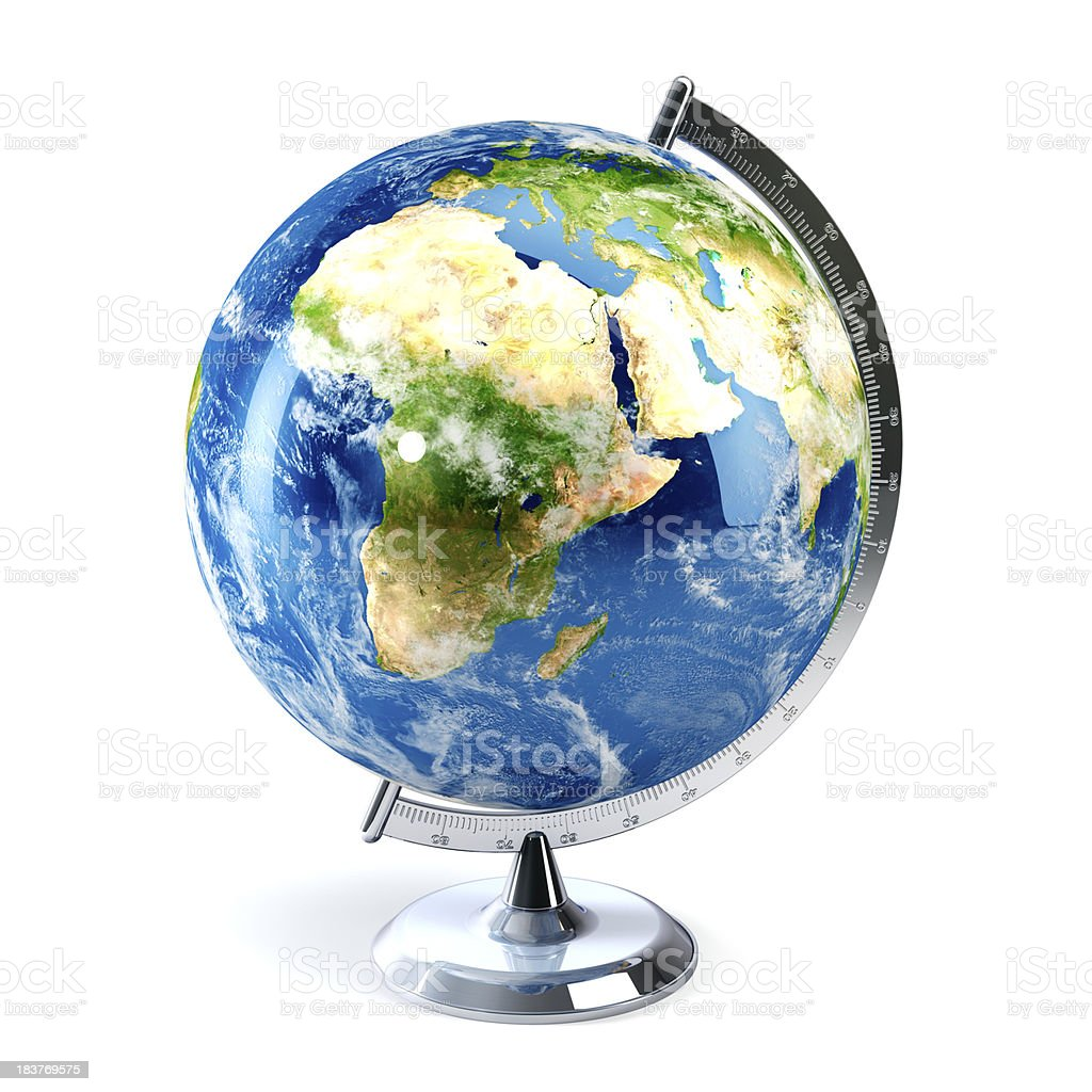Desktop globe showing Europe, Africa and the Middle East stock photo