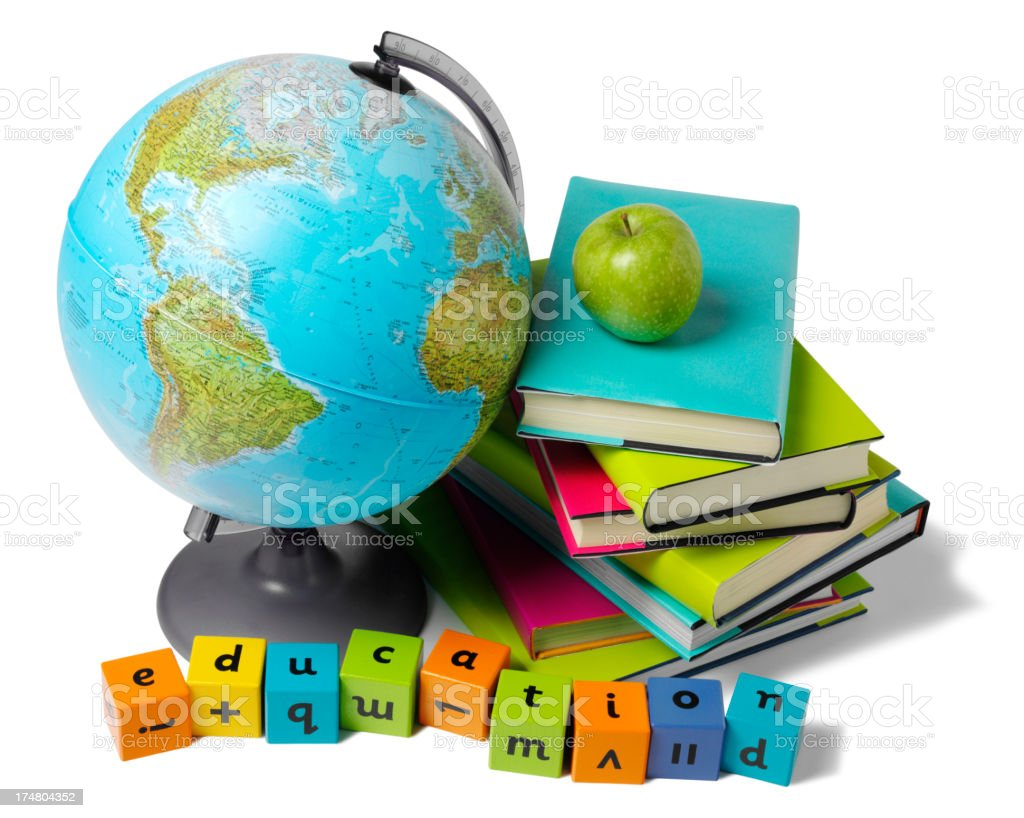 Desktop Globe with Education on Children's Building Bricks royalty-free stock photo