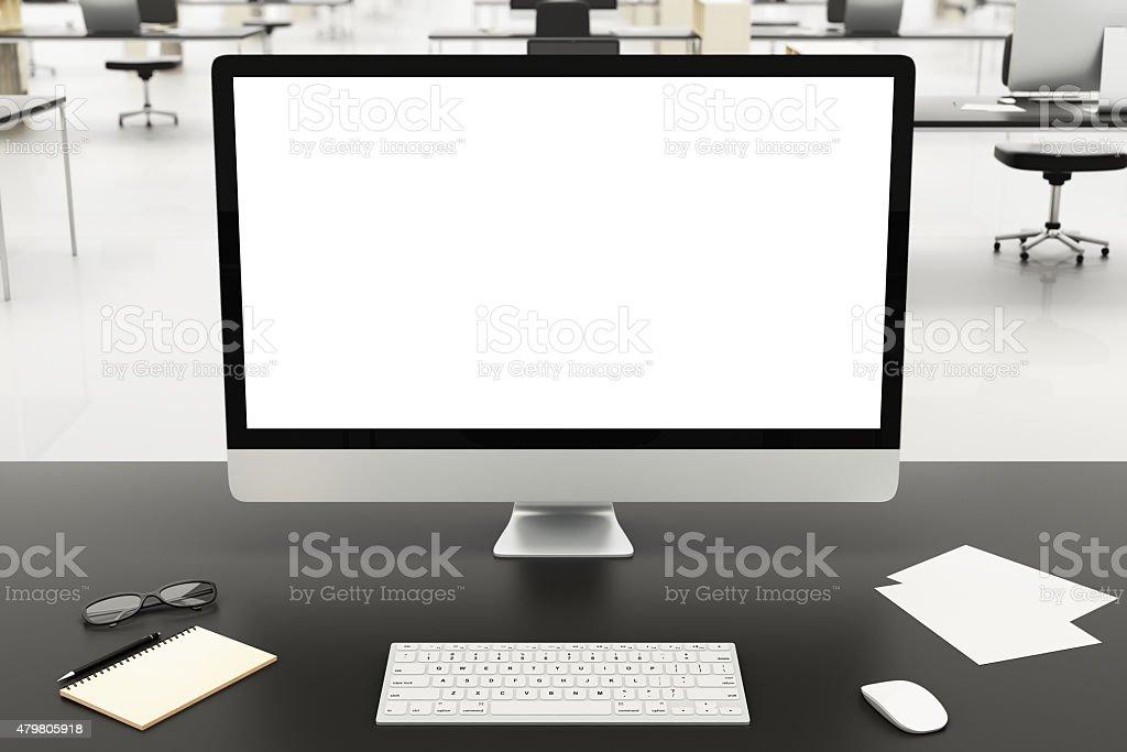 desktop in a modern office, mockup stock photo