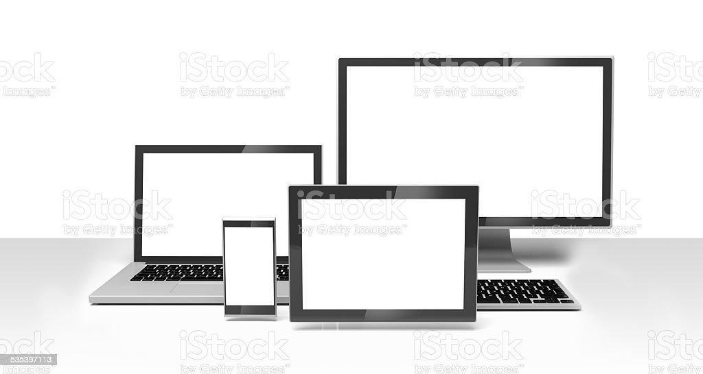Desktop, laptop computer, smartphone, tablet, clipping path stock photo