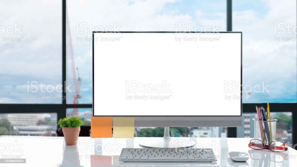 Desktop mockup, Workspace modern desktop computer in modern office,...