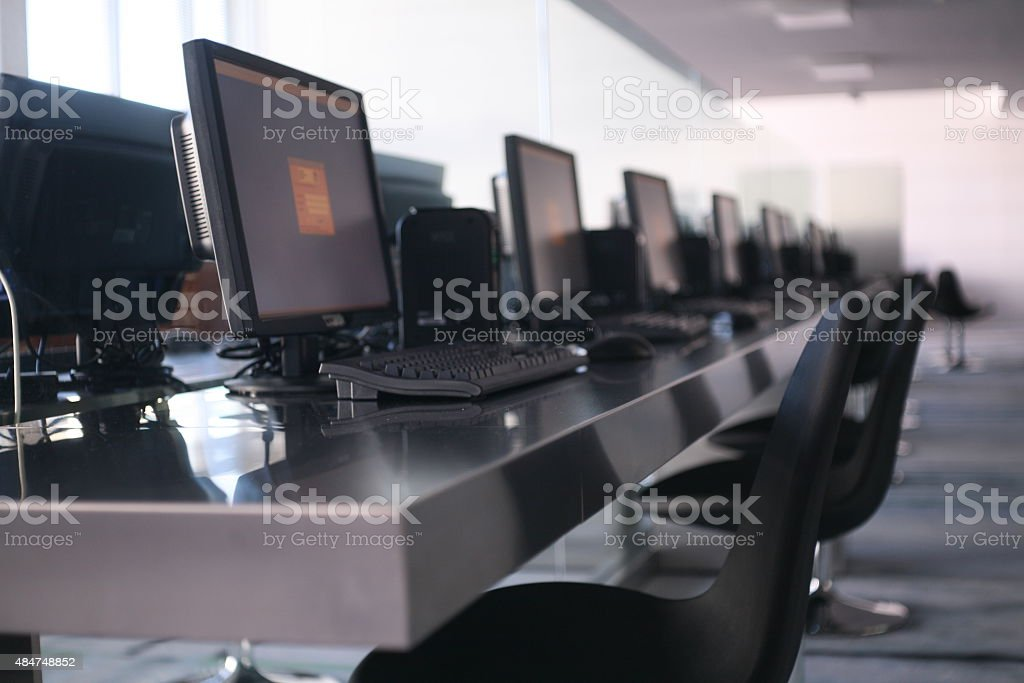 Desktop PC for Library users stock photo