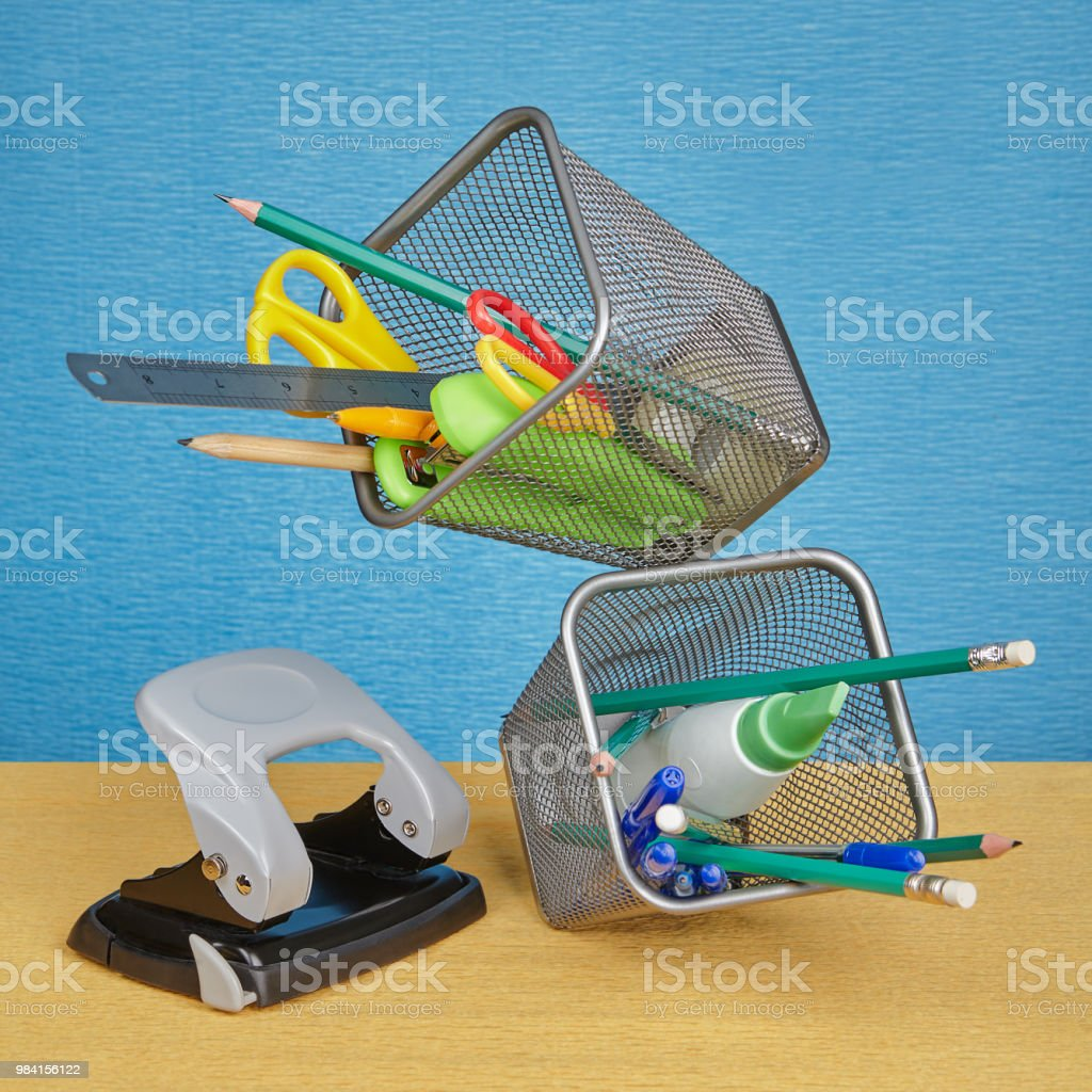 Desktop Pen Holder And Stationery Made Metal Wire Mesh Stock Photo ...