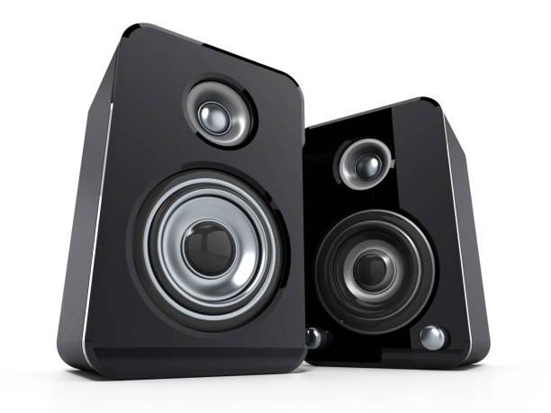 Desktop-Lautsprechern isoliert auf weiss – Foto