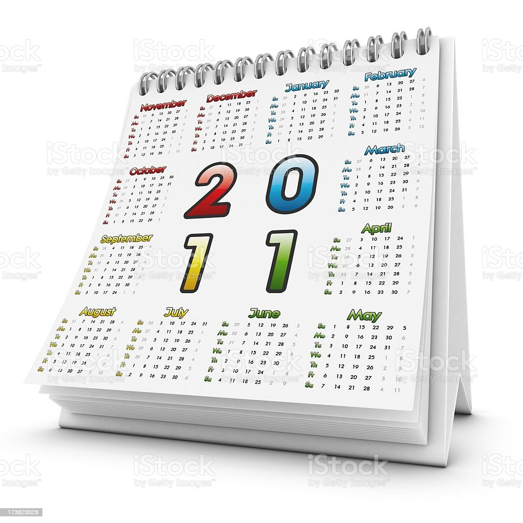 desktop square calendar 2011 royalty-free stock photo