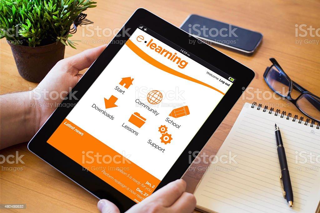desktop tablet e-learning stock photo