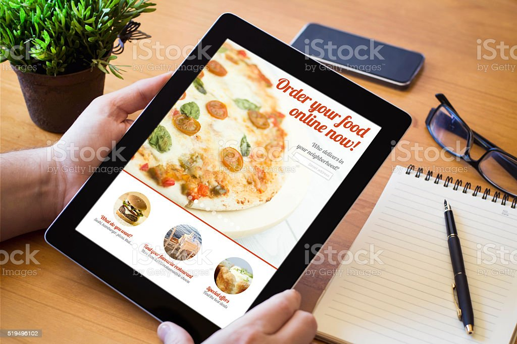 desktop tablet ordering fast food stock photo