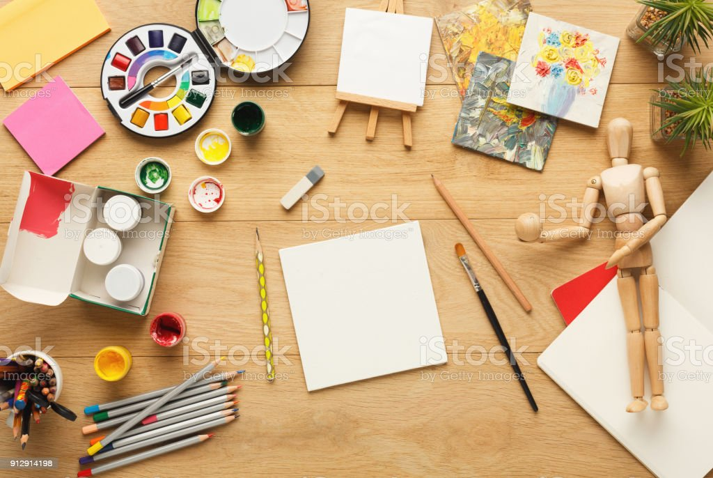 Desktop With Various Stationery For School Education Top ...