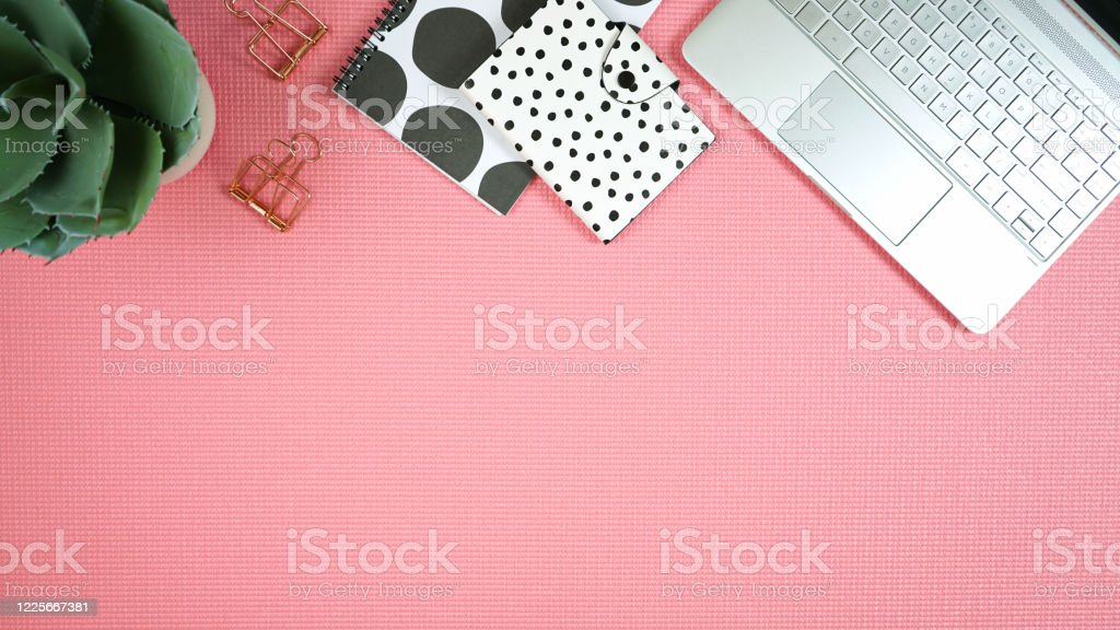 Desktop Workspace With Laptop And Modern Pink Black And White Accessories Stock Photo Download Image Now Istock