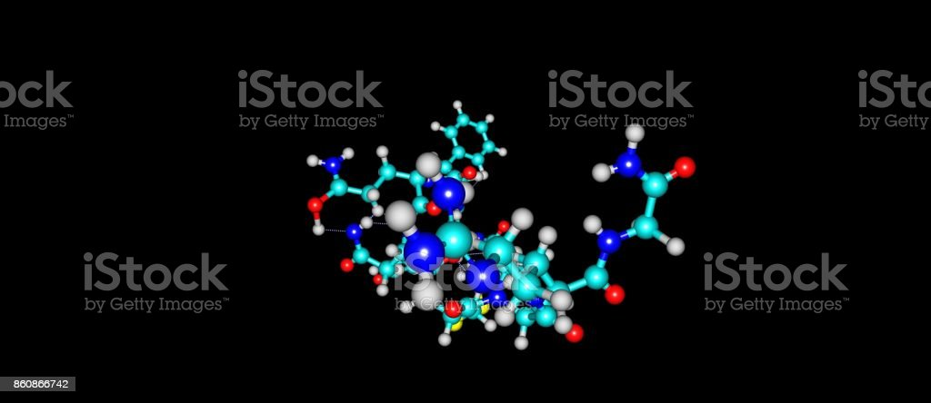 Desmopressin molecular structure isolated on black stock photo