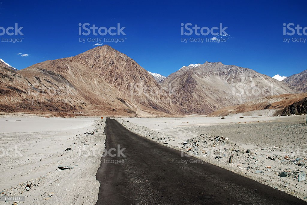 Desolate and empty road, Ladakh, India royalty-free stock photo