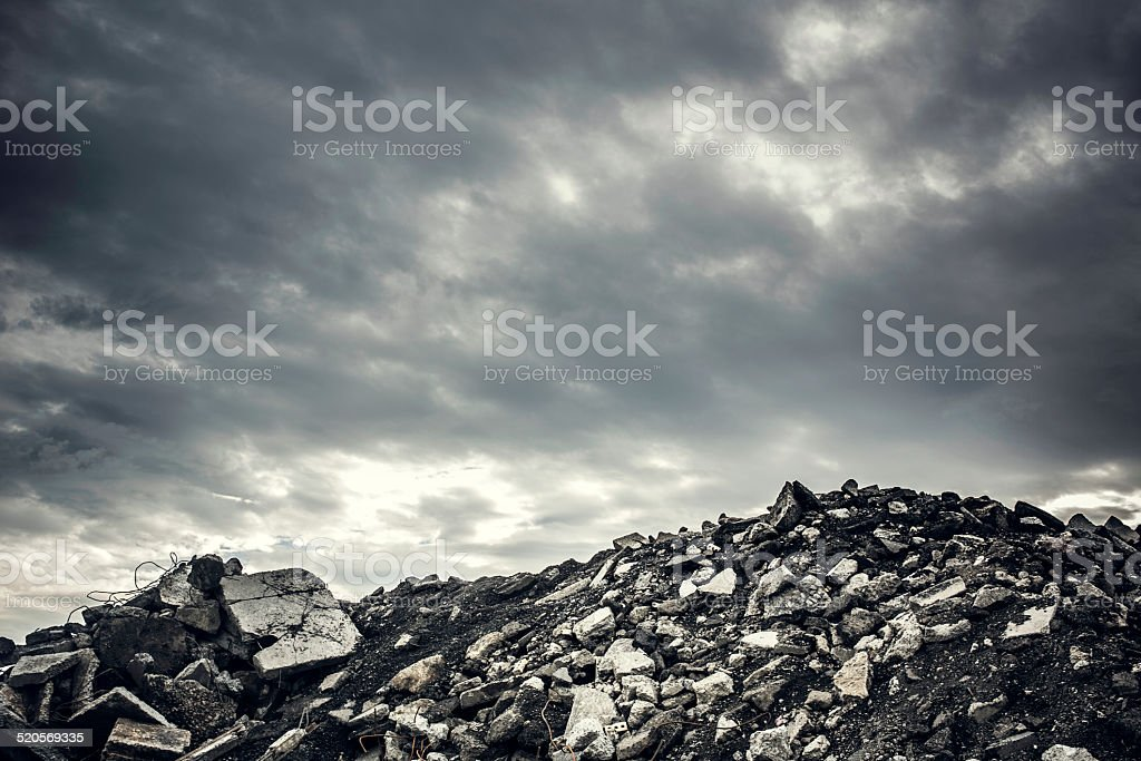 Desolate Concrete Rubble Wasteland stock photo