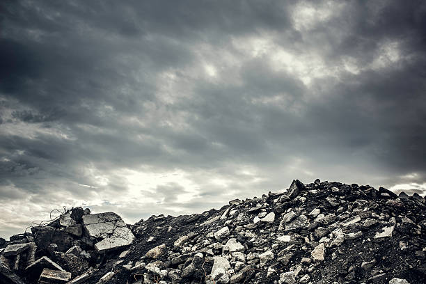 desolate concrete rubble wasteland - apocalypse stock photos and pictures