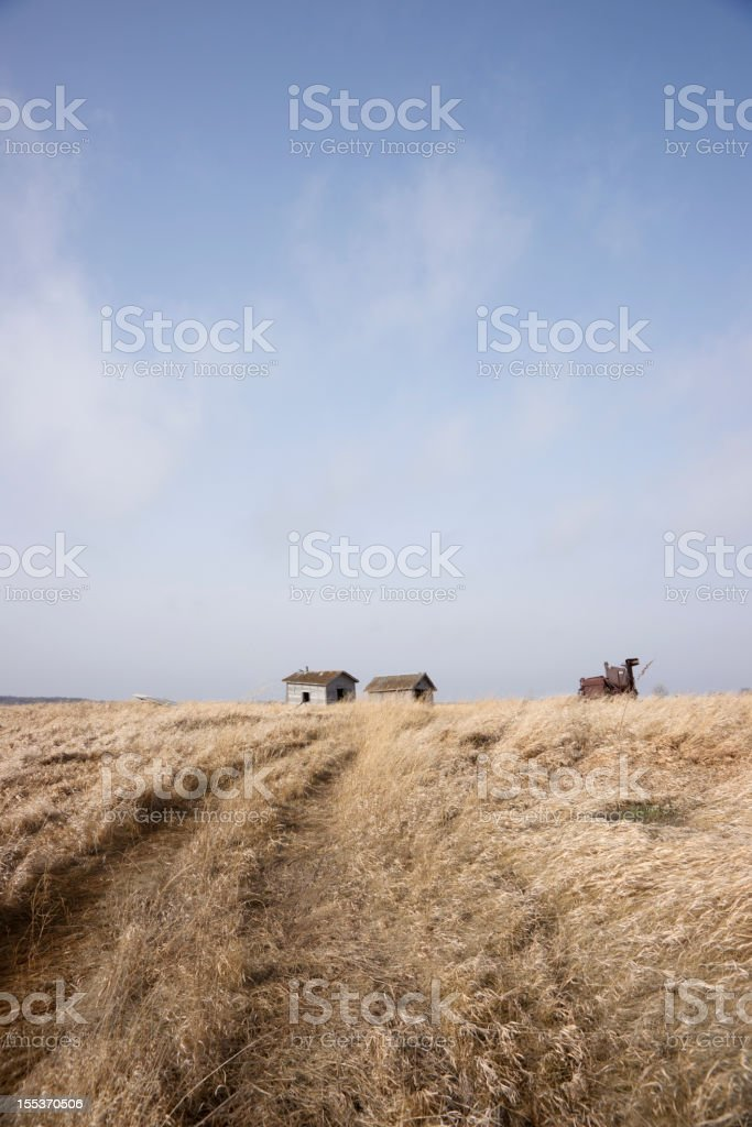 Desolate landscape with a few houses royalty-free stock photo