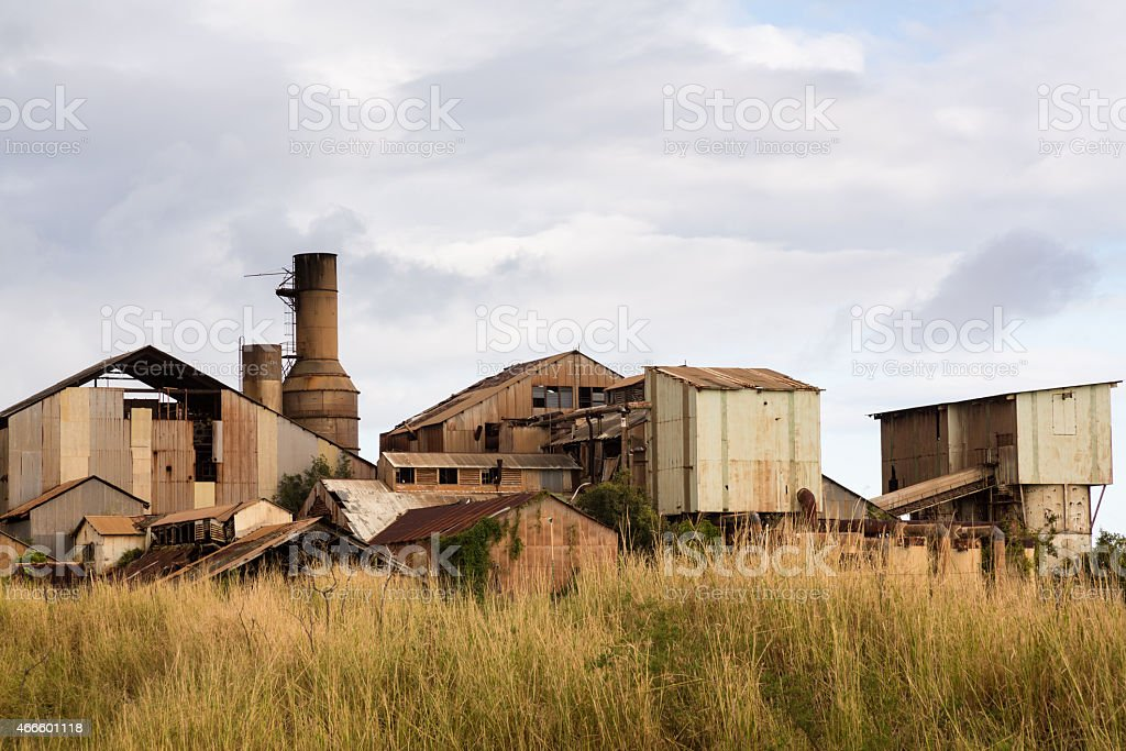 Desolate sugar mill near Koloa, Kauai stock photo