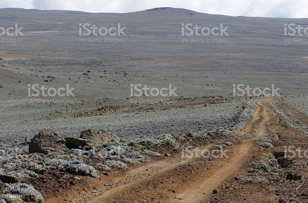Desolated road, Bale Mountains, Ethiopia stock photo