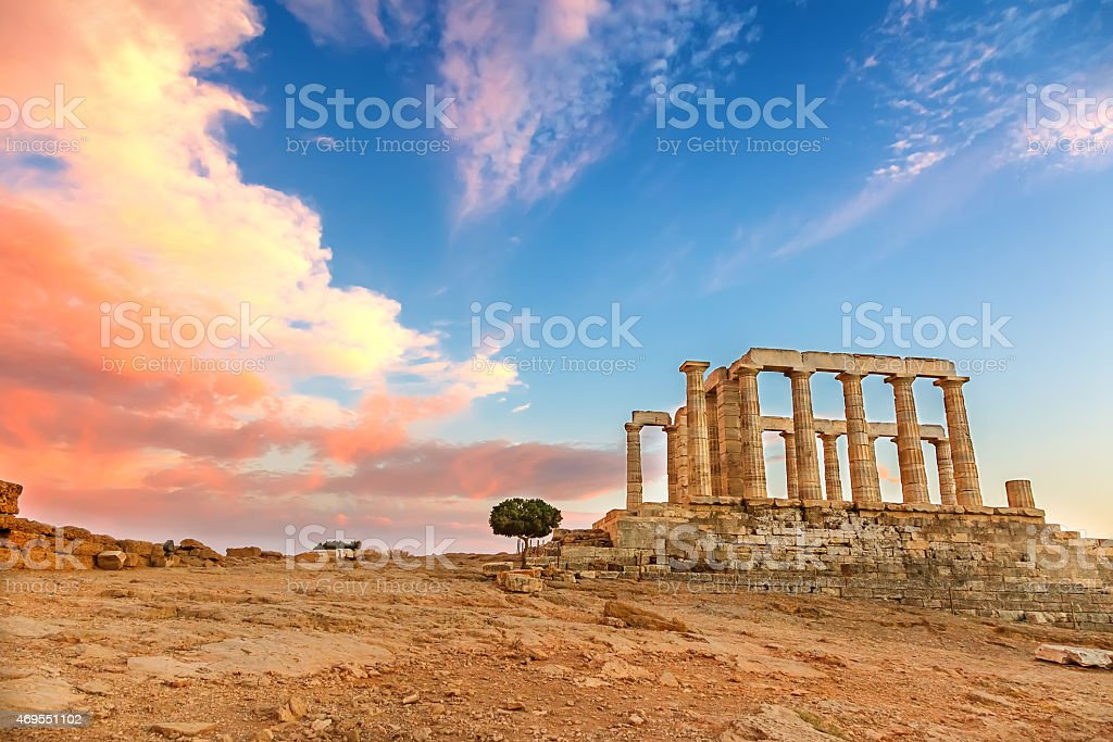 Desolated scene of Poseidon Temple at sunset stock photo