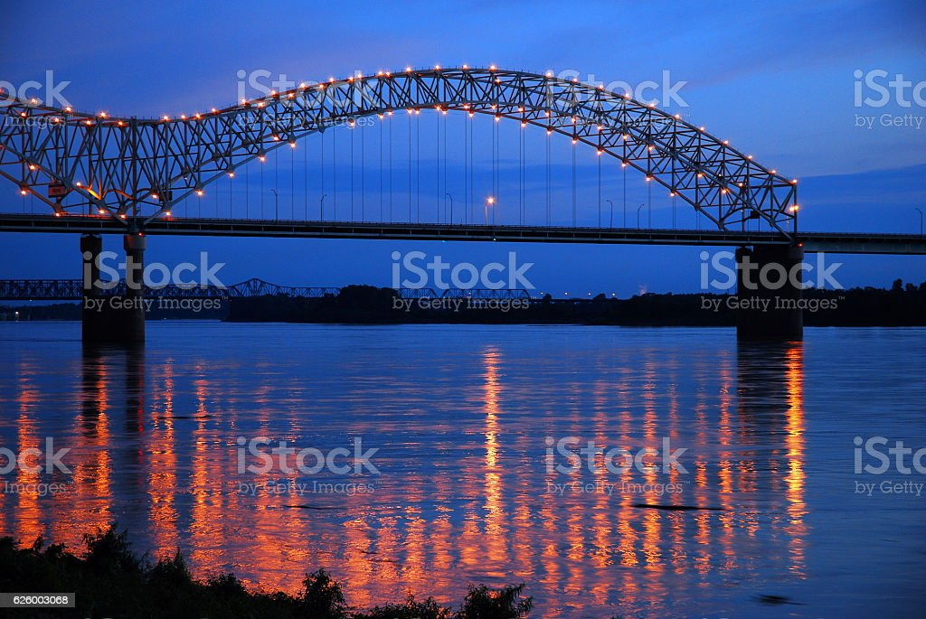 DeSoto Bridge on the Mississippi River stock photo