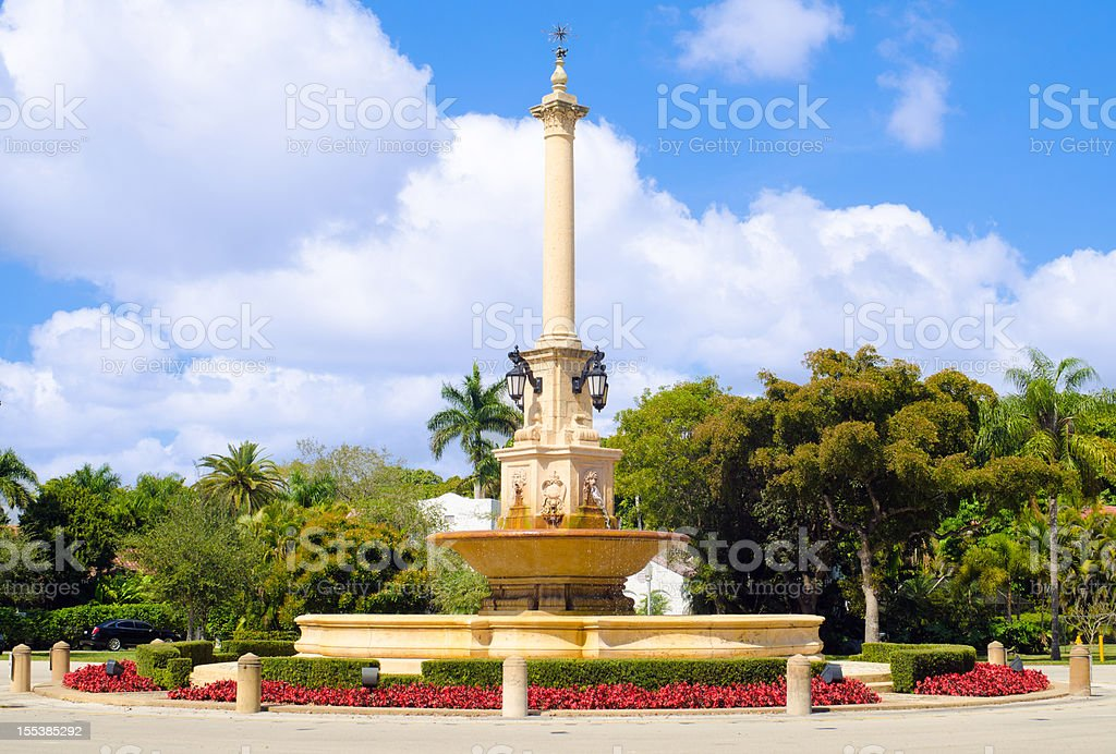 DeSoto Fountain in Coral Gables, FL stock photo