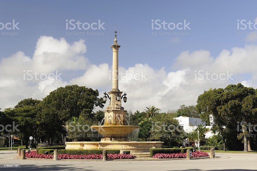 Desoto Fountain in Coral Gables stock photo