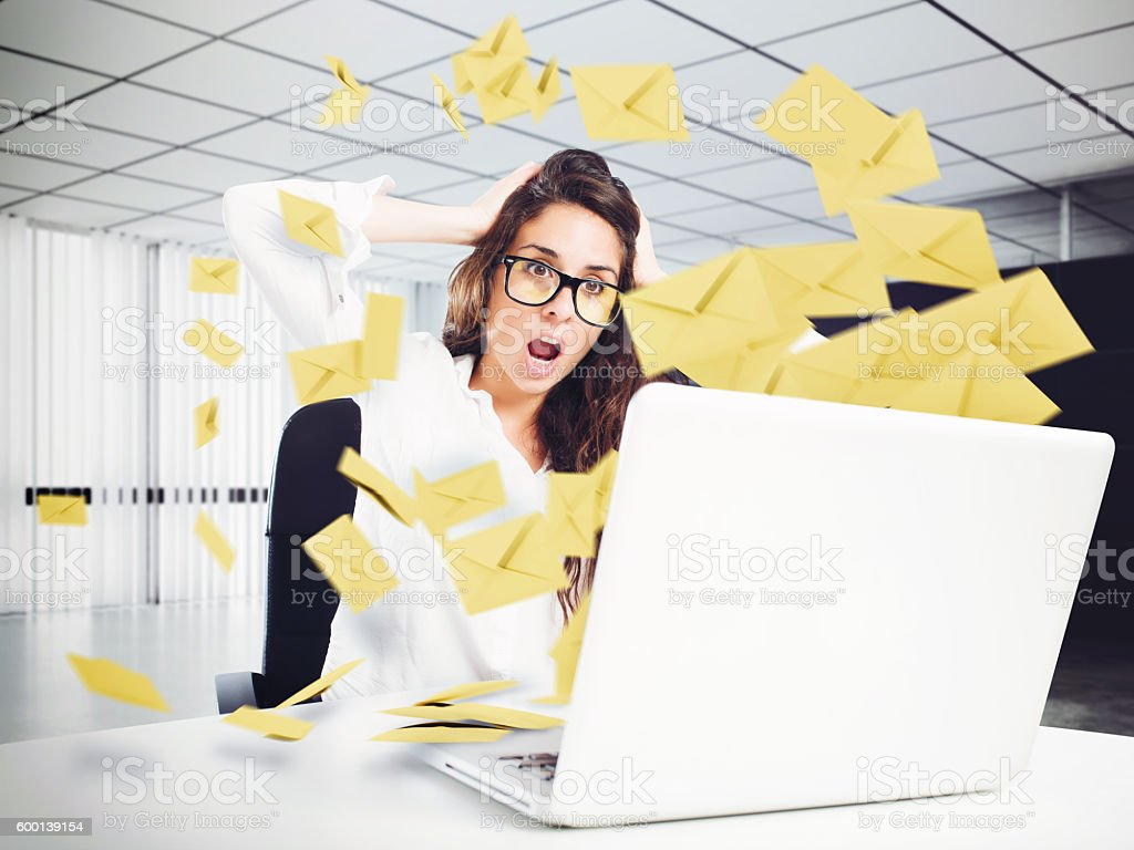 Despair and stress for spam e-mail stock photo