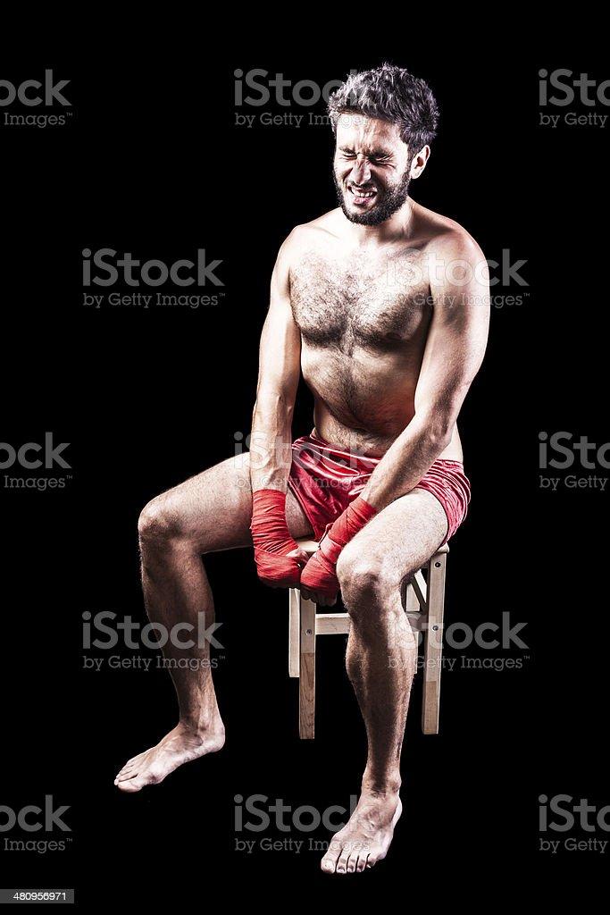 Despair of a boxer royalty-free stock photo