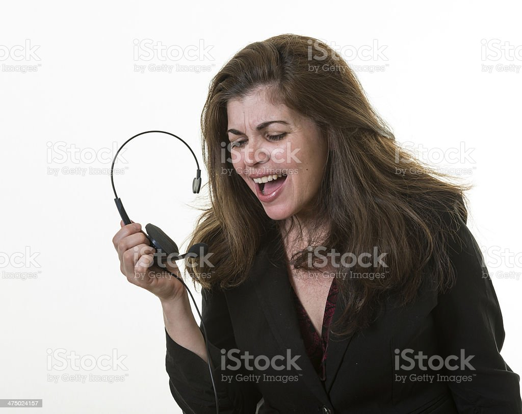Desperate associate in Call Center royalty-free stock photo