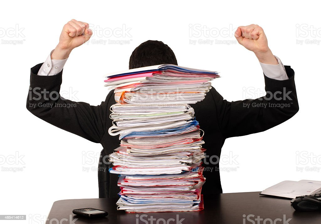 Desperate business man with a lot of work. stock photo