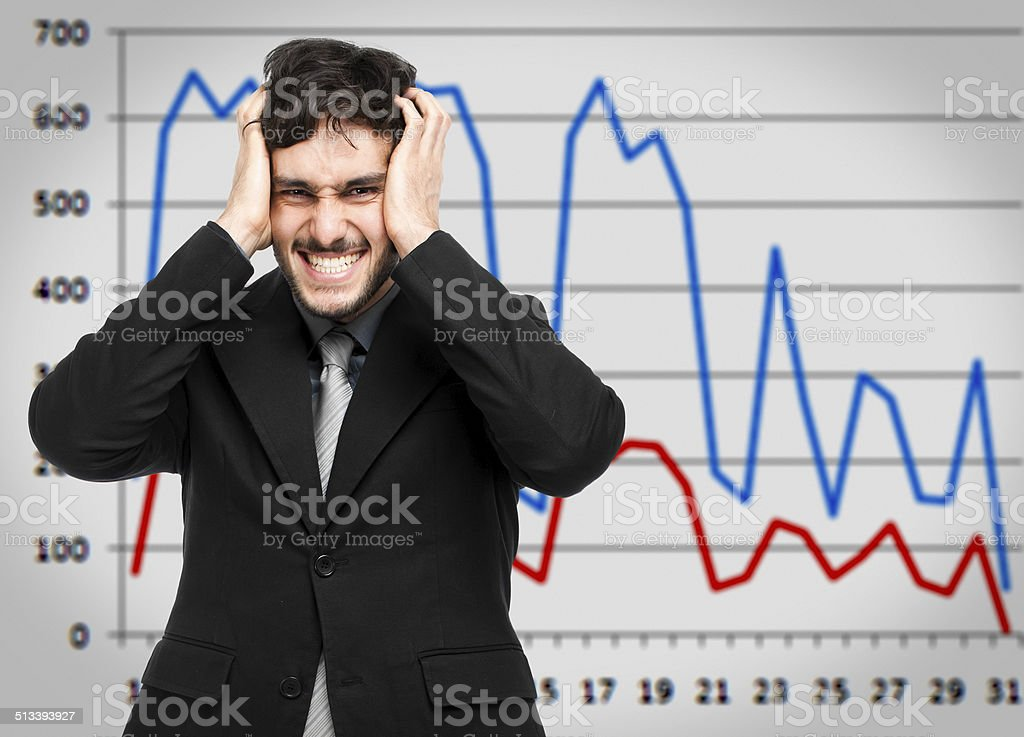 Desperate businessman, financial crisis concept stock photo