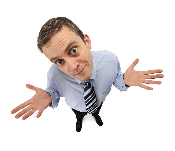 """Desperate Businessman Businessman lifts his hands and he says """"there's nothing to do"""". fish eye lens stock pictures, royalty-free photos & images"""