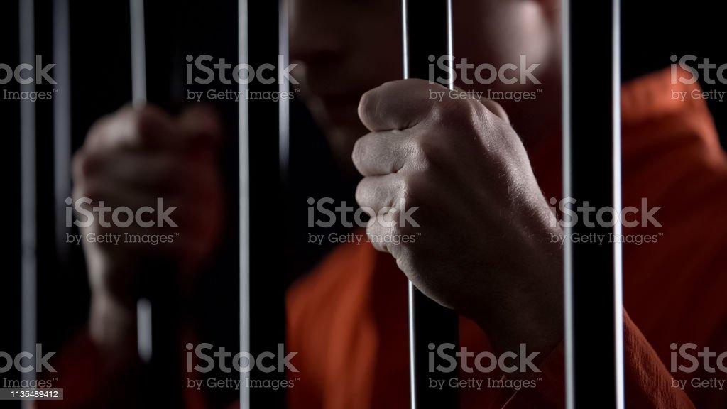 Desperate criminal holding jail bars feeling regret for committing crime closeup Desperate criminal holding jail bars feeling regret for committing crime closeup Anticipation Stock Photo