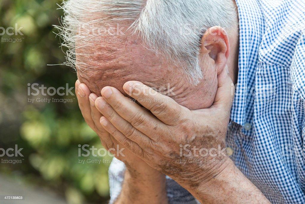 Desperate senior stock photo