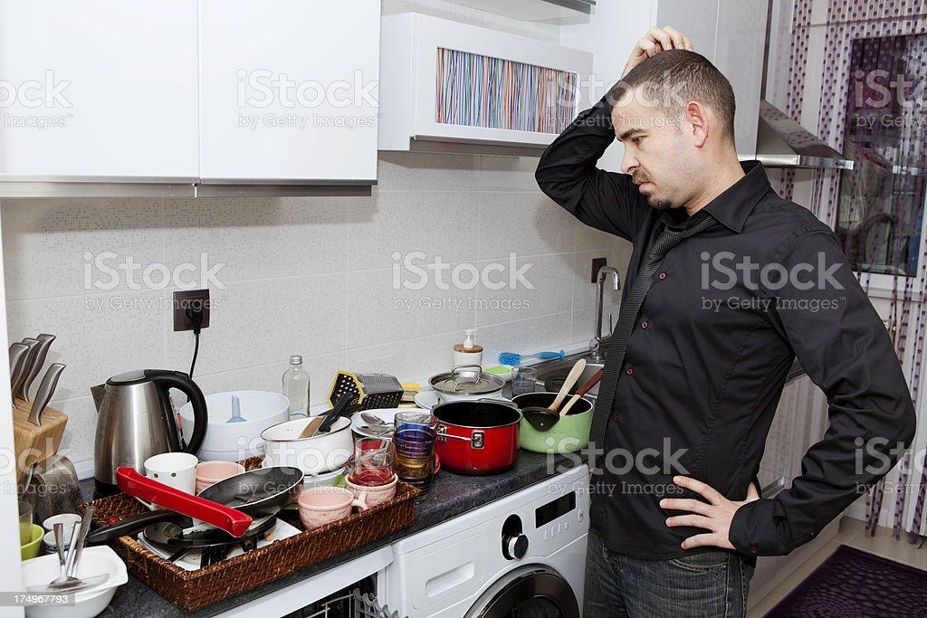 ... Desperate Single Man In Kitchen Stock Photo ...