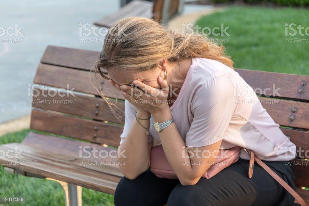 Verzweifelte Frau – Foto