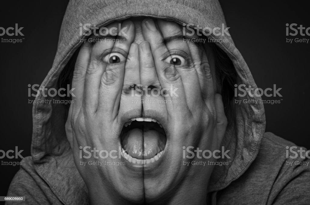 Desperate woman screaming stock photo