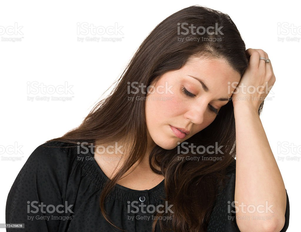 Despondent Woman, Eyes Closed royalty-free stock photo