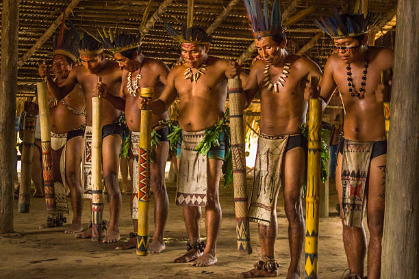 Dessana tribe dance ritual in Amazon Brazil Manaus, Brazil - March 8, 2015: Brazilian indigenous from the Dessana tribe show their ritual during an expedition at the Rio Negro River in the Amazon rainforest. indigenous culture stock pictures, royalty-free photos & images