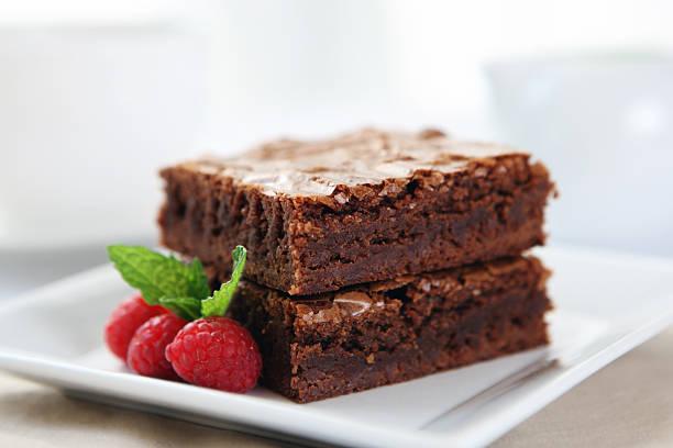 Dessert-brownie al cioccolato - foto stock