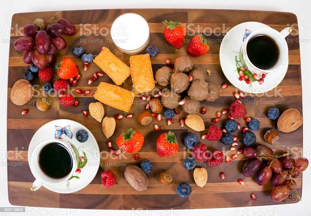 Dessert, coffee and fruit stock photo