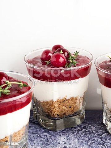 Cherry, Dessert, Yogurt, Compote,blancmange,cherry puding,cherry dessert, pudding,Menthe,Cake,food and drink,biscuit,cookie,Gelatin Dessert, Fruit,Italian dessert,Mascarpone, Mousse - Dessert, Panna Cotta, Breakfast, parfait