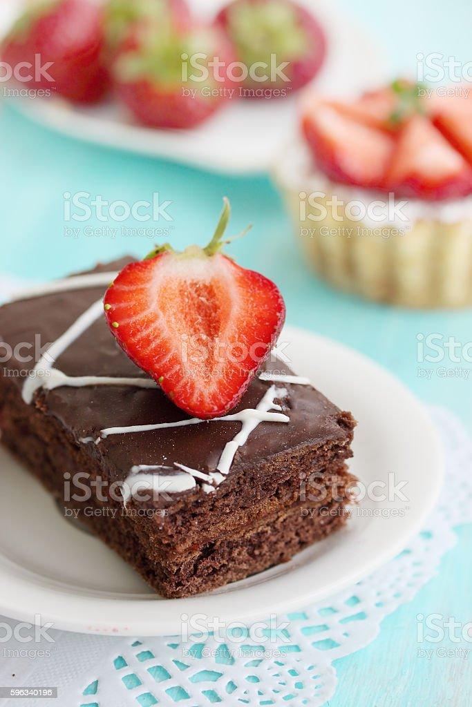 dessert dark chocolate and strawberries royalty-free stock photo